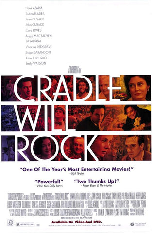 Cradle Will Rock Movie Poster 27x40  Used Angus Macfadyen, Leonardo Cimino, PJ Brown, John Carpenter, Jamey Sheridan, Carrie Preston, Stephanie Roth Haberle, Brenda Pressley, Tony Amendola, Haile Selassie