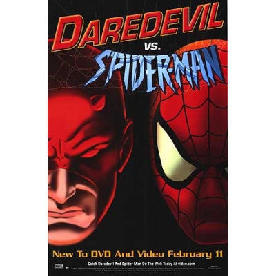 Daredevil Vs. Spider-Man Movie Poster 27x40 Cartoon Animated Used
