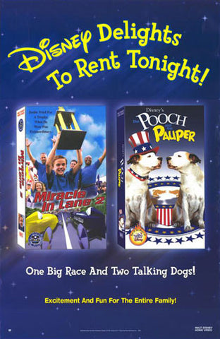 Disney Delights To Rent Tonight Miracle In Lane 2 & Pooch and Pauper Movie Poster 27x40 Used
