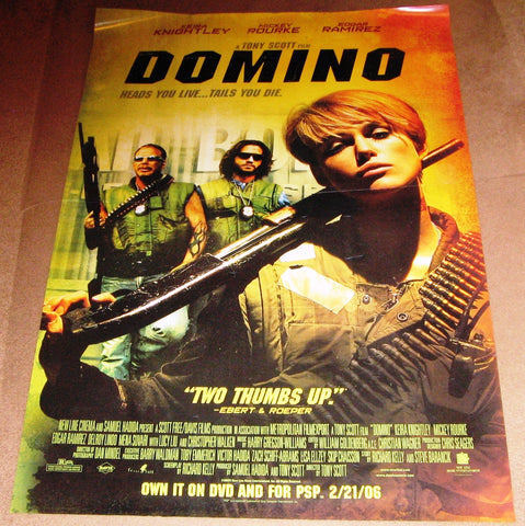 Domino Movie Poster 27x40 Used Mickey Rourke, Christopher Walken, Lucy Liu, Jerry Springer
