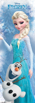 Door - Frozen Movie Poster 21x62 RP13557 Disney Elsa, Olaf UPC882663035571