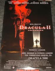 Dracula II Ascension Movie Poster 27x40 Used Dracula 2 Brande Roderick, Jason London, Stephen Billington, Jason Scott Lee, Daniela Nane, Vasile Albinet, David Gant, Roy Scheider, Tom Kane, Khary Payton, David J Francis, Chris Hunter, John Light