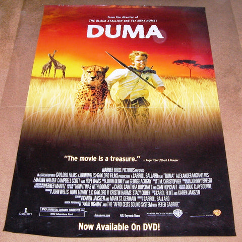 Duma Movie Poster 27x40 Used Eamonn Walker, Clive Scott, Savannah, Campbell Scott, Sam Ngakane, Sasha, Hope Davis, Nikita, Nicky Rebello, Jennifer Steyn, John Whiteley, Anthony