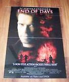 End Of Days 1999 Movie Poster 27x40  Used Arnold Schwarzenegger