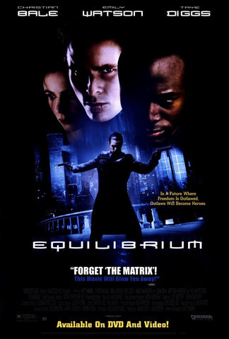 Equilibrium Movie Poster 27X40 Used John Keogh, Dennenesch Zoude, Mike Smith, Danny Lee Clark, Matthew Harbour, Christian Bale, Christian Kahrmann, William Fichtner, Emily Watson, Maria Pia Calzone