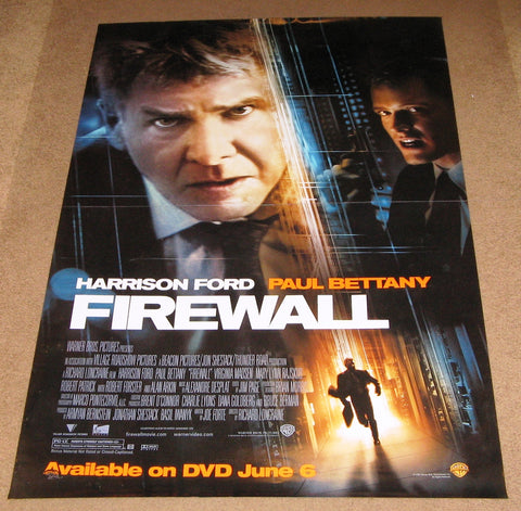 Firewall Movie Poster 27x40 Used Harrison Ford Paul Bettany