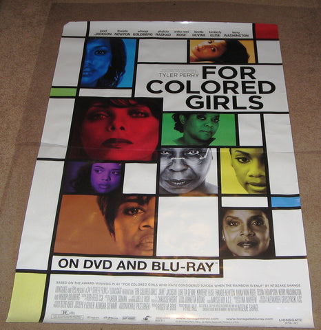 For Colored Girls Movie Poster 27x40 Used  Omari Hardwick, Whoopi Goldberg, Tessa Thompson, Jason Graham, Richard Lawson, Michael Cory Davis, Hill Harper, David Feigenbaum, Janet Jackson, Anika Noni Rose, Khalil Kain, Kimberly Elise, Kerry Washington