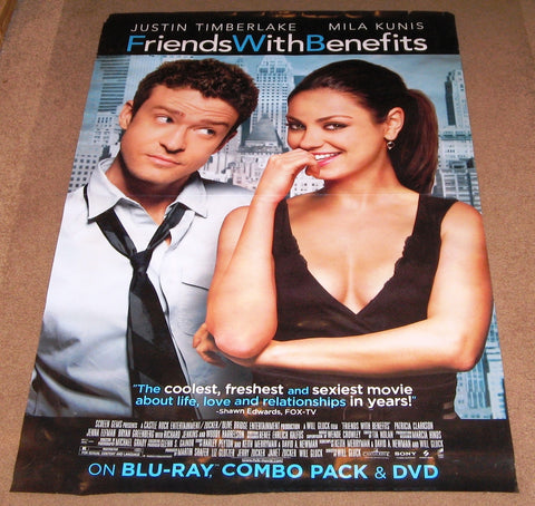 Friends with Benefits Movie Poster 27x40 Used Justin Timberlake Mila Kunis