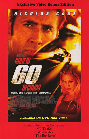 Gone In 60 Seconds 2000 Movie Poster 27x40 Used Nicolas Cage, Angelina Jolie, Master P