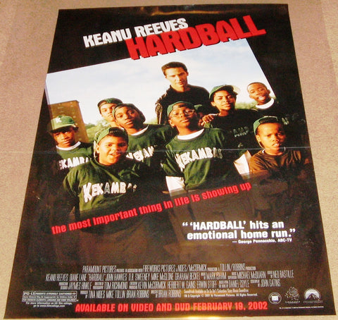 Hard Ball Movie Poster 27x40 Used Diane Lane, Graham Beckel, Keanu Reeves, Steve Abbott, Tom Milanovich, Mike McGlone, DB Sweeney, Andre Morgan, John Hawkes, Aaron Miller, Adam Tomei, Jacqueline Williams, Sammy Sosa, Mark Robert Ellis
