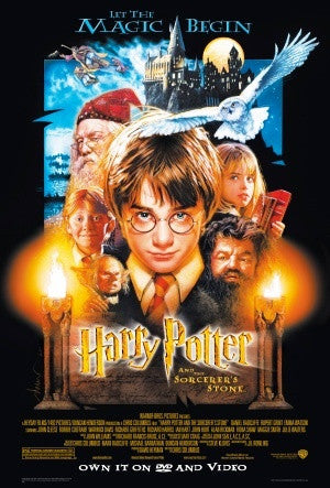 Harry Potter and the Sorcerer's Stone Movie Poster 27x40 Used Daniel Radcliffe, Emma Watson, Warwick Davis, John Hurt, Fiona Shaw, Alfie Enoch, Richard Harris, Terence Bayler, Robbie Coltrane, Richard Griffiths, Josh Herdman, Derek Deadman