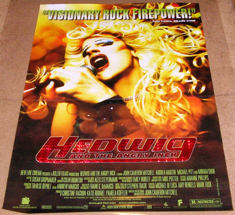 Hedwig and the Angry Inch Movie Poster 27x40 Used Rosie O'Donnell, Michael Stevens, Sook-Yin Lee, Gene Pyrz, Andrea Martin, Alberta Watson, Taylor Abrahamse, Maurice Dean Wint, Rob Campbell, Maggie Moore, John Cameron Mitchell, Alan Mandell, Miriam Shor