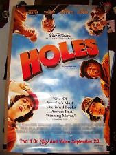 Holes Movie Poster 27x40 Used Disney Tom Brainard, Rick Fox, Nathan Davis, Shelley Malil, Nicole Pulliam, Damien Luvara, Patricia Arquette, Tim Blake Nelson, Allison Smith, Ski Carr, Clay M Lilley, Alex Castillo, Shia LaBeouf