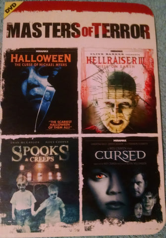 Masters of Terror 4 Movie Set Halloween 1978, Hellraiser 3, Spooks & Creeps, Cursed Used DVD UPC096009180249