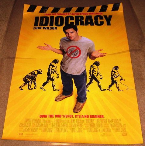 Idiocracy Movie Poster 27x40 Used Greg Pitts, Daniel Smith, Thomas Haden Church, Maya Rudolph, Luke Wilson, Sara Rue, Lynnanne Zager, Steve Powers, Michael McCafferty, Ava Santana, Lidia Porto