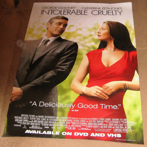 Intolerable Cruelty Movie Poster 27x40 Used George Clooney, Billy Bob Thornton, Cedric the Entertainer, Douglas Fisher, Stacey Travis, Jonathan Hadary, Tamie Sheffield, Blake Clark, Tom Aldredge, Bruce Campbell, Kate Luyben, Catherine Zeta-Jones