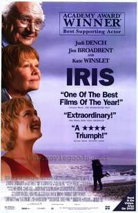 Iris Movie Poster 27x40 Used Jim Broadbent, Stephen Marcus, Juliet Aubrey, Kris Marshall, Nancy Carroll, Penelope Wilton, Juliet Howland, Samuel West, Judi Dench, Angela Morant, Hugh Bonneville, Joan Bakewell