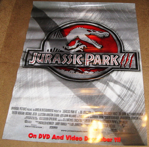 Jurassic Park 3 Movie Poster 27x40 Used Laura Dern, Frank Clem, William H Macy, Tea Leoni, Sarah Danielle Madison, Taylor Nichols, Linda Park, Julio Oscar Mechoso, John Diehl, Mark Harelik, Sam Neill, Michael Jeter