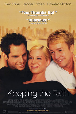 Keeping The Faith Movie Poster 27x40 Used Ben Stiller, Paul Hogan, Edward Norton