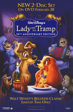 Lady and the Tramp 50th Anniversary Edition Movie Poster 27x40 Used Walt Disney