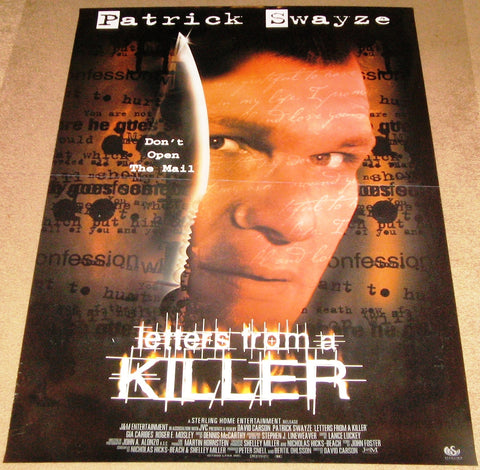 Letters From a Killer Movie Poster 27x40 Used Katy Selverstone, Sterling Wolfe, Lisa Niemi, Kim Myers, Katie Hagan, Chris Byrne, Shawna Reina, Elizabeth Ruscio, James Willett, Fulvio Cecere, Patrick Swayze