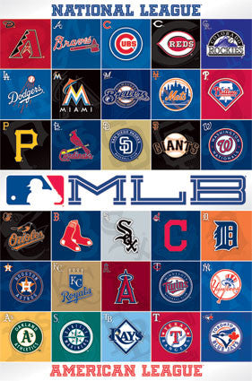 MLB - Logos 13 Sports Poster 22x34 RP2143 Major League Baseball
