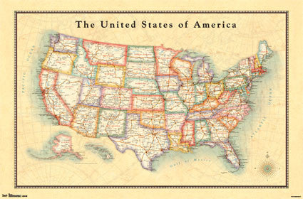 Map - USA 13 Educational Poster 22x34 RP6534 UPC017681065341
