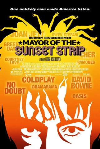 Mayor of the Sunset Strip Movie Poster 27x40 Used Elvis Presley, Tony Curtis, Davy Jones, Nancy Sinatra, Exene Cervenka, Peter Tork, Chris Martin, David Lee Roth, Lance Loud, Cher, Pete Townshend, Sarah Michelle Gellar