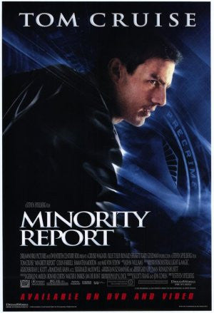Minority Report Movie Poster 27x40 Used Steven Spielburg, Tom Cruise, Bonnie Morgan, Patrick Kilpatrick, Kurt Sinclair, Max Trumpower, Frank Grillo, Kathryn Morris, Lois Smith