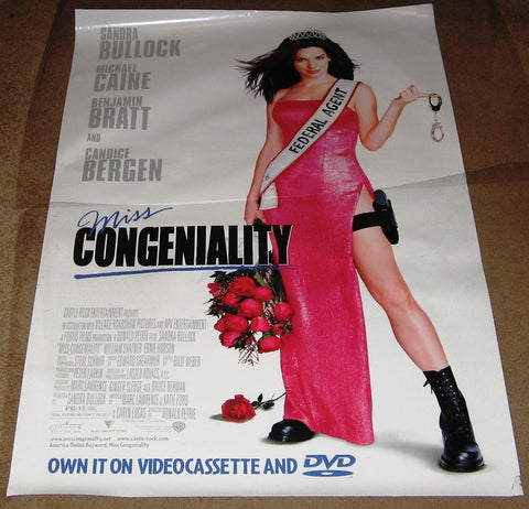 Miss Congeniality Movie Poster 27x40 Used Deirdre Quinn, Cassandra L Small, Jennifer Matyear, William Shatner, Heather Burns, Wendy Raquel Robinson, Candice Bergen, Steve Monroe, Benjamin Bratt, Sandra Bullock