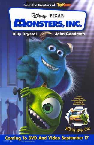 Monsters Inc 2001 Movie Poster 27x40 Used Disney Pixar