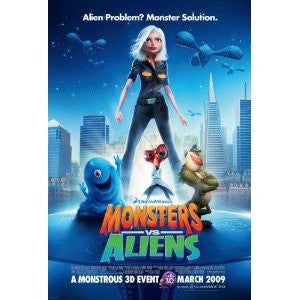 Monsters vs. Aliens Poster 11x17 Half Size Poster Used Chris Miller, Amy Poehler, Kent Osborne, Conrad Vernon, Mike Mitchell, Stephen Kearin, Hugh Laurie, Paul Rudd, Seth Rogen, Thomas Mørk, Reese Witherspoon