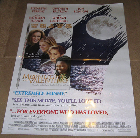 Moonlight and Valentino 1995 Movie Poster 27x40 Used Gwyneth Paltrow, Jon Bon Jovi, Whoopi Goldberg