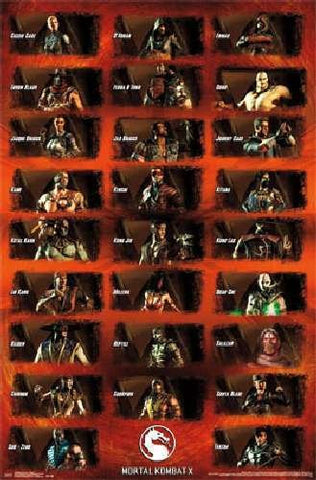 Mortal Kombat X - Group Movie Poster 22x34 RP13582 UPC882663035823