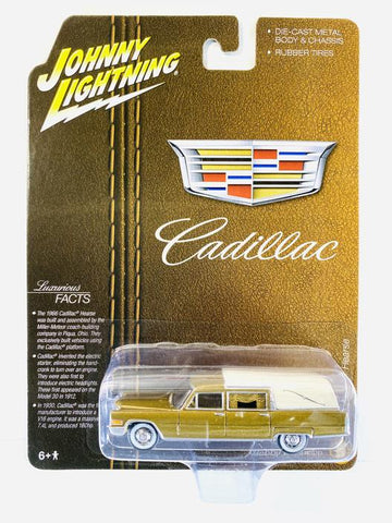 New 2020 Johnny Lightning 1966 Cadillac Hearse Auto World Hobby Exclusive Gold & Ivory