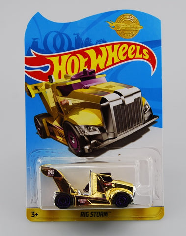 New 2019 Hot Wheels Gold Rig Storm Gold Series Limited Edition