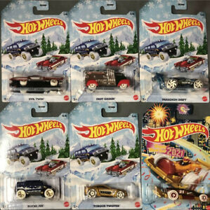 New 2020 Hot Wheels Christmas Set Of 6 Cars Evil Twin, Fast Gassin, Paradigm Shift, Rockster, Torque Twister & Carbonator