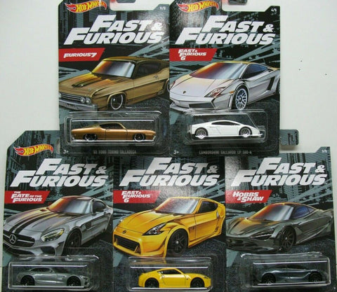 New 2020 Hot Wheels The Fast & The Furious Set 5 Cars Mercedes AMG Nissan 370Z Mclaren Lamborghini Gallardo Ford Torino Talladega