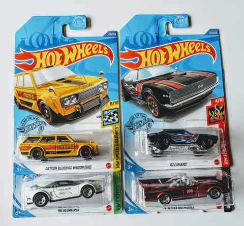 New 2020 Hot Wheels N Case Kroger Exclusive Set Of 4 Cars Acura Bluebird Camaro Batmobile