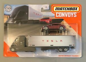 New 2020 Matchbox Convoys Tesla Semi & Box Trailer Tesla Model S Set