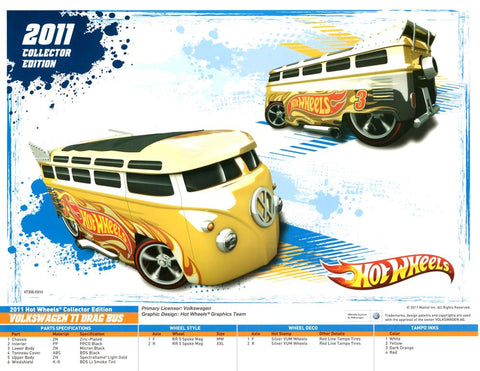 New 2011 Hot Wheels Collectors Edition Volkswagen T1 Drag Bus Specification Sheet
