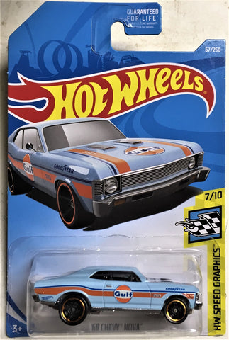 New 2019 Hot Wheels '68 Chevy Nova HW Speed Graphics Gulf