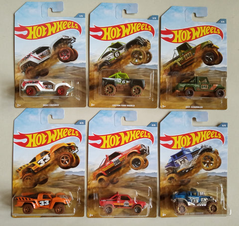 New 2019 Hot Wheels Baja Truck Set of 6 Trucks Walmart Exclusive Trucks