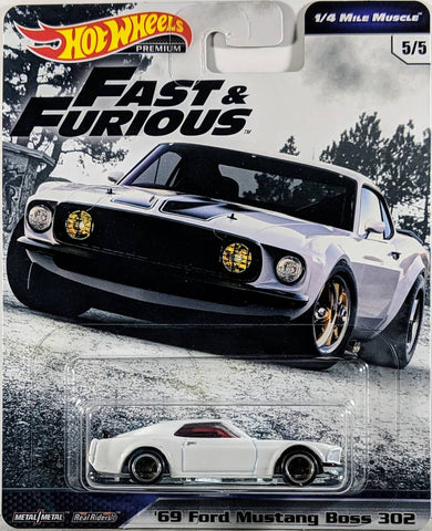 New 2019 Hot Wheels Fast & Furious '69 Ford Mustang Boss 302 The Fast and The Furious Premium Real Riders