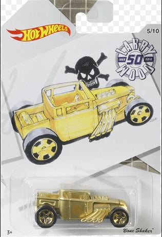 New 2019 Hot Wheels Larry Wood Collection Gold Bone Shaker