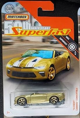 New 2019 Matchbox '16 Camaro Convertible Gold  50th Anniversary Superfast Car