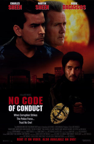 No Code Of Conduct 1998 Movie Poster 27x40 Used Charlie Sheen, Martin Sheen, Bret Michaels