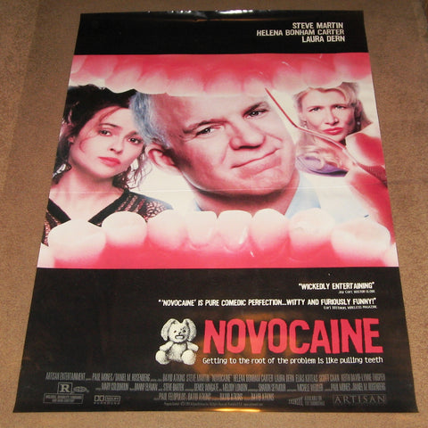 Novocaine Movie Poster 27x40 Used Lucina Paquet, James Chisem, Kevin Bacon, JoBe Cerny, Eric Lane, Rich Komenich, Eddie Bo Smith Jr, Preston Maybank, Steve Martin, Laura Dern, Tom Milanovich