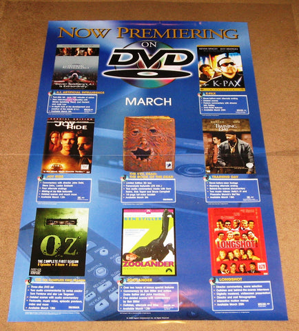 Now Premiering on DVD Poster March 2001 24x36 MCP0002 Used K-Pax, Oz A.I. Artificial Intelligence, Zoolander, Joy Ride, Training Day, Longshot, Evil Dead