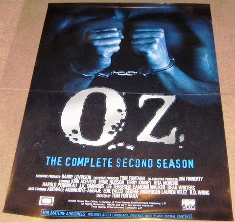 Oz the Complete Second Season DVD Poster 27x40 Used Robert Clohessy, David Zayas, Lauren Velez, George Morfogen, Christopher Meloni, Scott William Winters, Dean Winters, Zeljko Ivanek, Kirk Acevedo, Adewale Akinnuoye-Agbaje